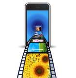 Intelligentes Telefon mit Fotos auf einem weißen Hintergrund Stockbilder