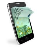 Intelligentes Telefon mit Geldkonzept. Euro. Stockfotografie