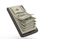 Intelligentes Telefon mit Geldkonzeptdollar Abbildung 3D lizenzfreie abbildung