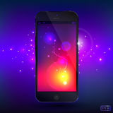 Intelligentes Telefon mit Glanzhintergrund Lizenzfreie Stockfotografie