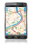 Intelligentes Telefon mit GPS-Navigations-Anwendung Stockbilder