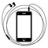 Intelligentes Telefon mit Kopfhörern Stockfotografie