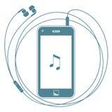 Intelligentes Telefon mit Kopfhörern Lizenzfreie Stockbilder