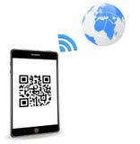 Intelligentes Telefon mit QR Code Stockfoto
