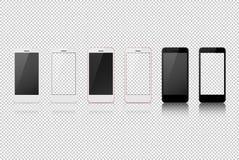 Intelligentes Telefon mit unterschiedlicher Farbe, weißer freier Raum auf transparentem Schirm Stockfotos