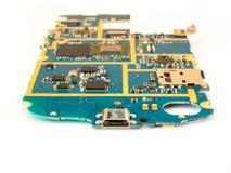 Intelligentes Telefon-Motherboard-Isolat auf weißem Hintergrund lizenzfreie stockbilder