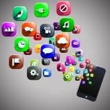 Intelligentes Telefon und Ikonen Stockbilder