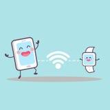 Intelligentes Telefon und intelligente Uhr Stockbilder