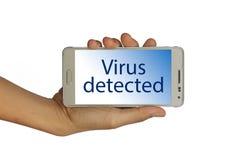 Intelligentes Telefonmitteilung Virus ermittelt, stockfoto