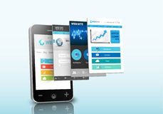 Intelligentes Telefonwebdesignkonzept Stockfotografie