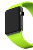 Intelligentes Uhrschwarzaluminium mit grüner Schnallenfarbe Lizenzfreie Stockbilder