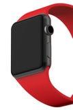 Intelligentes Uhrschwarzaluminium mit roter Schnallenfarbe Stockfotos
