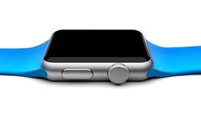 Intelligentes Uhrsilberaluminium mit der hellblauen Schnallenfarbe - lokalisiert auf Weiß Stockfoto