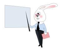 Intelligentes weißes Kaninchen Lizenzfreies Stockfoto