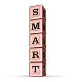 Intelligentes Wort-Zeichen Vertikaler Stapel von Rose Gold Metallic Toy Blocks Stockbilder