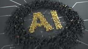 Intelligenza artificiale Addestramento della rete neurale Periodicamente movimento delle cifre Le lettere dorate stanno accendend stock footage