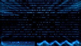 Intelligenza artificiale blu AI di Tron con le forme d'onda ed il fondo dei raggi luminosi illustrazione di stock