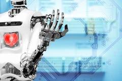 Intelligenza artificiale che installa il cuore umano Fotografia Stock Libera da Diritti