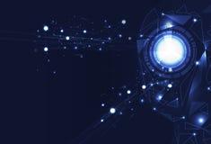 Intelligenza artificiale creativa di visione, poligono, griglia dei triangoli illustrazione vettoriale