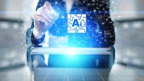 Intelligenza artificiale di AI, apprendimento automatico, grande analisi dei dati e tecnologia di automazione nel concetto di aff fotografia stock libera da diritti