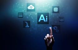 Intelligenza artificiale di AI, apprendimento automatico, grande analisi dei dati e tecnologia di automazione nell'affare royalty illustrazione gratis