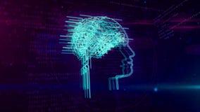 Intelligenza artificiale e cervello cibernetico con l'animazione di ciclaggio di forma del fronte illustrazione di stock
