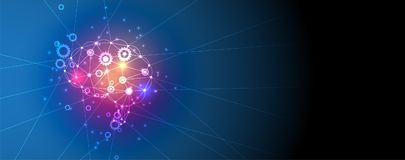 Intelligenza artificiale Fondo di web di tecnologia Concentrato virtuale royalty illustrazione gratis