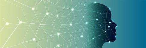 Intelligenza artificiale Fondo di web di tecnologia Concentrato virtuale Fotografia Stock Libera da Diritti