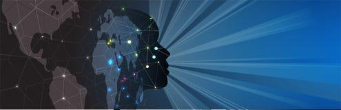 Intelligenza artificiale Fondo di web di tecnologia Concentrato virtuale Fotografie Stock Libere da Diritti
