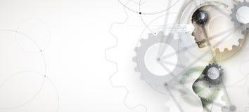 Intelligenza artificiale Fondo di web di tecnologia Concentrato virtuale illustrazione vettoriale
