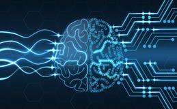 Intelligenza artificiale - fondo metallico del cervello Fotografia Stock