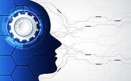 Intelligenza artificiale Tecnologia digitale di AI in futuro Concetto virtuale Priorità bassa dell'illustrazione di vettore illustrazione di stock
