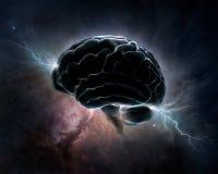 Intelligenza cosmica - cervello in universo Fotografia Stock Libera da Diritti