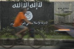 INTELLIGENZA INDONESIANA GUARDARE GRUPPO ESTREMISTA SULLE EDIZIONI DELLO STATO ISLAMICO Immagine Stock Libera da Diritti