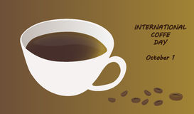 Intenational coffee day, October 1. Post card Intenational coffe day, October 1 Royalty Free Stock Images