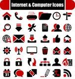 Intenet y iconos de los ordenadores Fotos de archivo