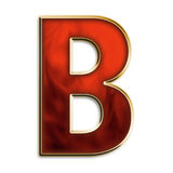 Intense b. Capital b in fiery red & gold isolated on white Stock Images