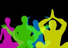 Intense color silhouettes doing yoga  with opacity. Black background. Digital composite of Intense color silhouettes doing yoga  with opacity. Black background Royalty Free Stock Photos
