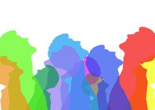 Intense color silhouettes of a man looking up . White background Royalty Free Stock Photos