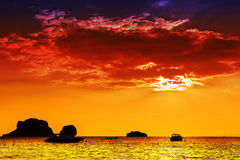 Intense colors sunset over sea, nature background Royalty Free Stock Photography