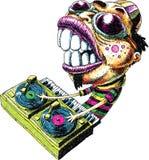 Intense DJ. An intense cartoon DJ mixing music on vinyl turntables Stock Photo