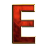 Intense e. Capital letter e in fiery red & gold isolated on white Royalty Free Stock Photos