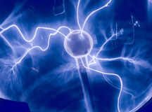 Intense electrical discharge. And shine on a dark background Royalty Free Stock Photography