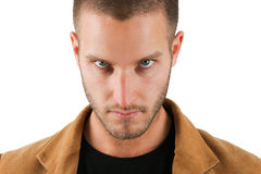 Intense Eyes. Young man with intense eyes on a white background Royalty Free Stock Images