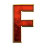 Intense f. Capital letter f in fiery red & gold isolated on white Royalty Free Stock Images