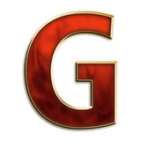 Intense g. Capital letter g in fiery red & gold isolated on white Stock Photos
