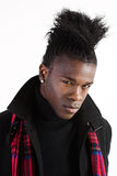 Intense gaze. Portrait of a young black man in casual attire stock photo