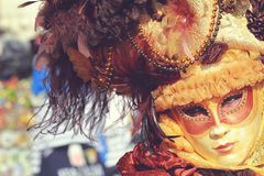 Intense gaze from a mask. Carnival masked person with intense gaze.Venice Carnival 2012 Royalty Free Stock Image