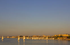 Intense glow on the Nile before the sun sets Stock Images
