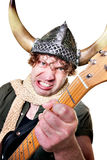 Intense Guitarist with Viking Helmet Stock Photos